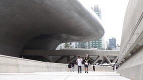 SEOUL, SOUTH KOREA  SEPTEMBER 10, 2017. People Walking In Dongdaemun Design Plaza Iconic Landmark in Seoul South Kore. People Walking In stock footage