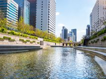 Seoul, South Korea - April 16, 2018: The Spring Sculpture, located in Cheonggye Plaza near Cheonggyecheon Stream, represents new l royalty free stock photos