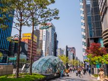 SEOUL, SOUTH KOREA - APRIL 17, 2018:The subway station in the center of the Asian cities in the Gangnam District popular shopping royalty free stock photo