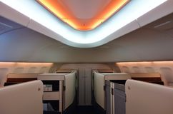 The First Class cabin of a Korean Airlines KE Boeing 747-8 airplane Royalty Free Stock Images