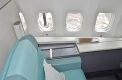 The First Class cabin of a Korean Airlines KE Boeing 747-8 airplane Stock Photography