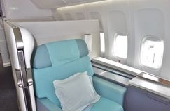 The First Class cabin of a Korean Airlines KE Boeing 747-8 airplane Royalty Free Stock Photo