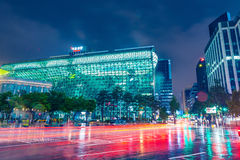 SEOUL, SOUTH KOREA - AUGUST 16, 2015: Building of New City Hall of Seoul Metropolitan Government shot at night of August 16, 2015 Royalty Free Stock Photos