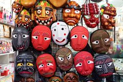 SEOUL, SOUTH KOREA - AUGUST 14, 2015: Traditional Korean wooden masks sold in Insadong area of Seoul, South Korea Royalty Free Stock Photos