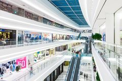 SEOUL, SOUTH KOREA - AUGUST 17, 2015: Lots of people moving here and there while doing shoping in. SEOUL, SOUTH KOREA - AUGUST 17, 2015: People moving here and Royalty Free Stock Photo