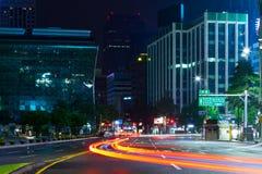 Seoul, South Korea - August 16, 2015: Night view near City Hall Stock Photo
