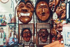 SEOUL, SOUTH KOREA - AUGUST 14, 2015: Traditional Korean wooden masks sold in Insadong street in Seoul, South Korea Royalty Free Stock Image