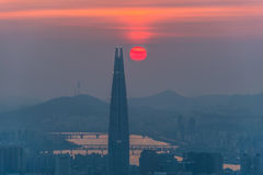 South Korea skyline of Seoul, The best view of South Korea with Lotte world mall at Namhansanseong Fortress Stock Photos