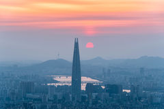 South Korea skyline of Seoul, The best view of South Korea with Lotte world mall at Namhansanseong Fortress Royalty Free Stock Photo