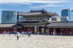 Seoul, South Korea - circa September 2015: Gwanghwamun gate of Gyeongbokgung Palace, Seoul with modern buildings in  background Stock Image