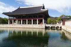 Seoul, South Korea - circa September 2015: Gyeonghoeru pavilion in Gyeongbokgung Palace, Seoul, South Korea stock photography