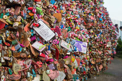 Seoul, South Korea - circa September 2015: Locks with lovers and couple names around Namsan Tower, Seoul, South  Korea Royalty Free Stock Photography