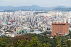 Seoul, South Korea - circa September 2015: Panorama of Seoul, South Korea, skyline from Namsan  Mountain Stock Photo