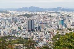 Seoul, South Korea - circa September 2015: Panorama of Seoul, South Korea, skyline from Namsan  Mountain Royalty Free Stock Photography