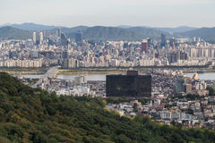Seoul, South Korea - circa September 2015: Panorama of Seoul, South Korea, skyline from Namsan  Mountain Royalty Free Stock Photos