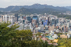 Seoul, South Korea - circa September 2015: Panorama of Seoul, South Korea, skyline from Namsan  Mountain Royalty Free Stock Image