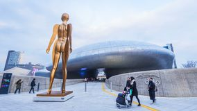 SEOUL, SOUTH KOREA - December 2017:Dongdaemun Design Plaza in Seoul, South Korea.  stock footage