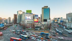 Timelapse of Seoul cityscape with car and traffic in Seoul, Korea