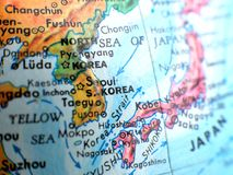 Seoul South Korea focus macro shot on globe map for travel blogs, social media, website banners and backgrounds. Seoul South Korea focus macro shot on globe map royalty free stock photo