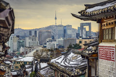 Seoul, South Korea Historic Distric and Skyline Stock Image