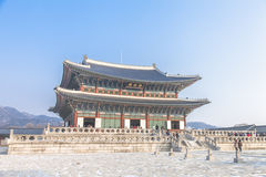 SEOUL, SOUTH KOREA - 17 Jan 2017 : Gyeongbokgung palace, famous. Gyeongbokgung palace, famous destination ancient traditional korean style palace for tourists in Stock Images