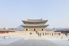 SEOUL, SOUTH KOREA - 17 Jan 2017 : Gyeongbokgung palace, famous. Gyeongbokgung palace, famous destination ancient traditional korean style palace for tourists in Stock Photography