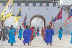 SEOUL, SOUTH KOREA - JANUARY 22: The ceremony of the guards at t. The ceremony of the guards at the Gyeongbokgung Palace complex on January 22, 2017 in Seoul Stock Photos