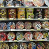 Seoul, South Korea - 9 January 2019: cup noodles on shelves in the convenience store royalty free stock photography
