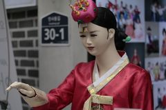 Seoul, South Korea - 4 January 2019: Mannequins in Hanbok, Insadong, Seoul, South Korea royalty free stock image
