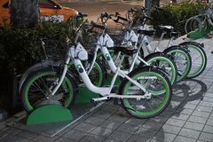 Seoul, South Korea - 9 January 2019: Unmanned Rental Public Bicycles, ddareungi stock photography