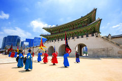 SEOUL, SOUTH KOREA - JULY 5: Soldier with traditional. Royalty Free Stock Image