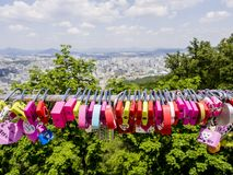 Seoul, South Korea - June 3, 2017: Colorful love padlocks, Seoul, Namsan Park royalty free stock image