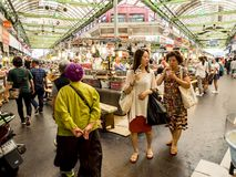 Seoul, South Korea - June 21, 2017: People shopping tasty food and drink at Gwangjang Market in Seoul stock photography