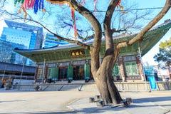 Jogyesa Temple, In preparation for the birthday of Buddha, located in Jongno-gu, Seoul. Seoul, South Korea - March 14, 2018 : Jogyesa Temple, In preparation for Royalty Free Stock Photo