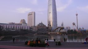 Koreans enjoy sightseeing Lotte World Tower, Seoul