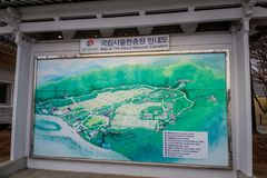 Map of The Seoul National Cemetery, which is located in Dongjak-dong, Dongjak-gu, Seoul, South Korea. Seoul, South Korea - March 19, 2018 : Map of The Seoul stock photo