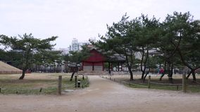 Panorama on traditional Korean park in Seoul downtown