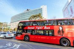 Seoul City Tour Bus at Hongdae Shopping district in Seoul city. Seoul, South Korea - March 2, 2018 : Seoul City Tour Bus at Hongdae Shopping district Stock Image