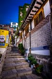 Beautiful alley staircase up the hill at Samcheongdong stock photos