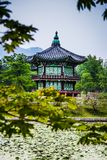 Beautiful Hyangwonjeong pavilion on an artificial island -Seoul stock photo