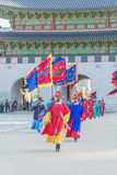 SEOUL, SOUTH KOREA - October 30, 2015 : The soldier march changing of the guard demonstration at Gyeongbokgung Palace on October. 26, 2015 in Seoul, South Korea stock images