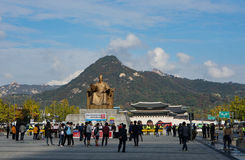 SEOUL, SOUTH KOREA : OCTOBER 28, 2016 Statue of the King Sejong Royalty Free Stock Photos