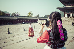 Seoul, South Korea - October 20, 2016: Young girls in traditiona Royalty Free Stock Images