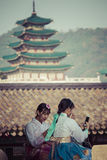 Seoul, South Korea - October 20, 2016: Young girls in traditiona Royalty Free Stock Image