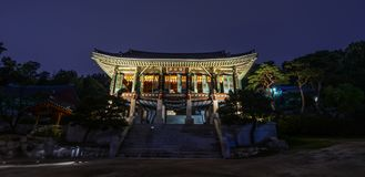 Buddhist temple pagoda at night in Seoul royalty free stock photography