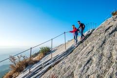 SEOUL, SOUTH KOREA - SEP 27: Climbers and Tourists on Bukhansan. Royalty Free Stock Photos