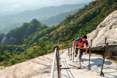 SEOUL, SOUTH KOREA - SEP 27: Climbers and Tourists on Bukhansan. Stock Image