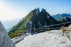 SEOUL, SOUTH KOREA - SEP 27: Climbers and Tourists on Bukhansan. Royalty Free Stock Photo
