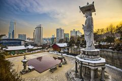 Seoul South Korea. Seoul, South Korea skyline from Bongeunsa Temple Stock Photos