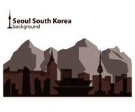 Seoul, South Korea skyline illustration. Seoul, South Korea skyline and mountains view illustration Royalty Free Stock Photos